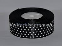 Атласная лента в горошек 2,5 см (23 м), цвет - чёрный