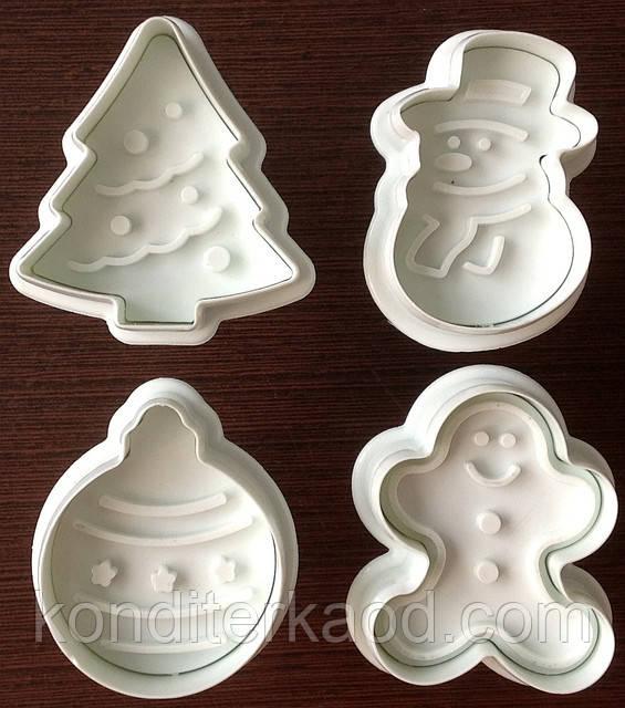 Плунжер Елка, Снеговик, Елочный шар, Пряничный человечик 4шт (кнопка)