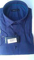 Мужская рубашка спорт DERGI с коротким рукавом приталенная код 7040-3