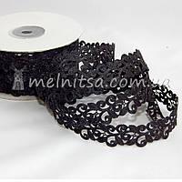 Ажурная лента Вензель, 2 см, черная