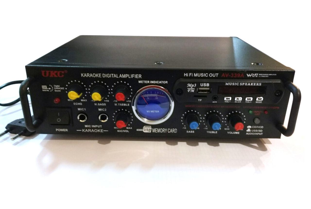 Усилитель UKC AV-339A 2*200maxx USB MP3 FM караоке