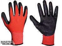 """Перчатки нитрил 10"""", красно-черные, 12шт/уп MASTERTOOL"""