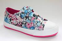 Модные детские кеды с цветами для девочек Шалунишка 35р. маломерят!