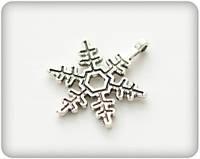 Подвеска металлическая, Снежинка, 18х21мм
