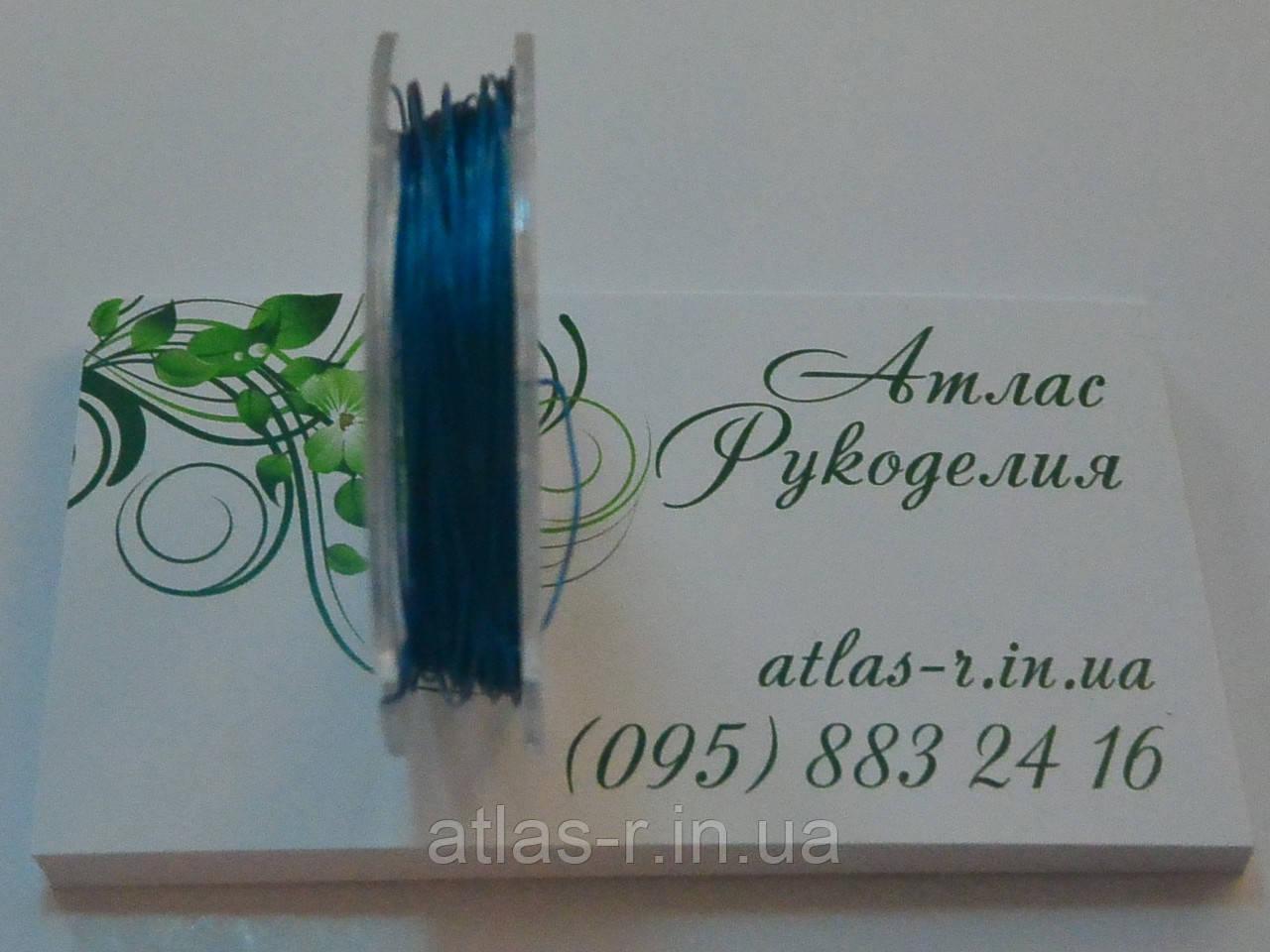 Тросик ювелирный аква, синий 0,3м (10м)