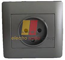 Графiтовий металiк  1123N  Розетка (iз захистними шторками) (з рамкою) OSCAR LXL