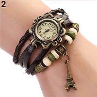 Женские часы с кожаным ремешком под старину с брелком эйфелева башня, купить часы браслет женские (коричневые)