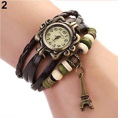 Женские часы с кожзам ремешком под старину с брелком эйфелева башня, купить часы браслет женские (коричневые)