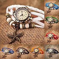 """Женские часы с кожаным ремешком под старину с брелком """"морская звезда"""", Белые женские кожаные часы"""