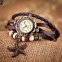 Женские часы с кожаным ремешком под старину с брелком морская звезда, купить часы браслет женские (коричневые)