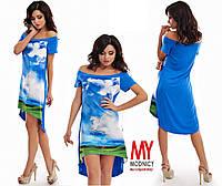 Платье трикотажное с открытыми плечами Норма 3191 (НАТ)