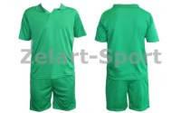 Форма футбольная без номера подростковая CO-4807-G (PL, р-р M-XL зеленый,шорты зеленые)