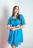 Голубое короткое платье без бретелек