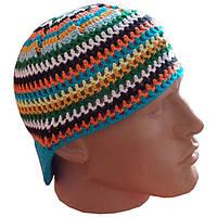 Мужская вязаная шапочка от солнца (с небольшим козырьком),  ручной работы