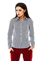 Рубашка женская в полоску на пуговицах - Черный