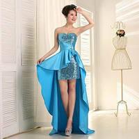 Платье синее короткое пайетки с голубым шлейфом