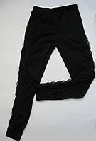 Черные женские лосины с кружевом по бокам