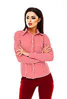 Рубашка женская в полоску на пуговицах - Красный