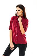 Рубашка женская классическая однотонная - Бордовый