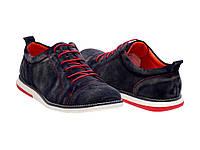 Мужские замшевые туфли синего цвета на красно белой подошве