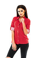 Рубашка женская на пуговицах в горошек - Красный
