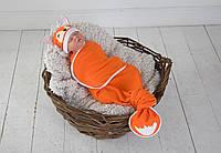 """Безразмерная пеленка на липучках + шапочка """"Каспер"""", Лиса, фото 1"""