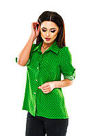 Рубашка женская на пуговицах в горошек - Зеленый