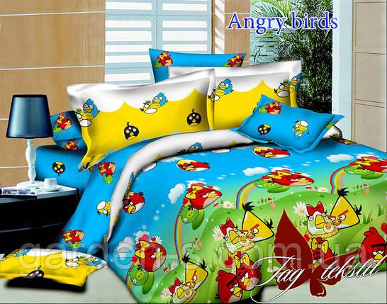 Комплект постельного белья Angry birds ТМ TAG 1,5 спальный комплект, фото 2