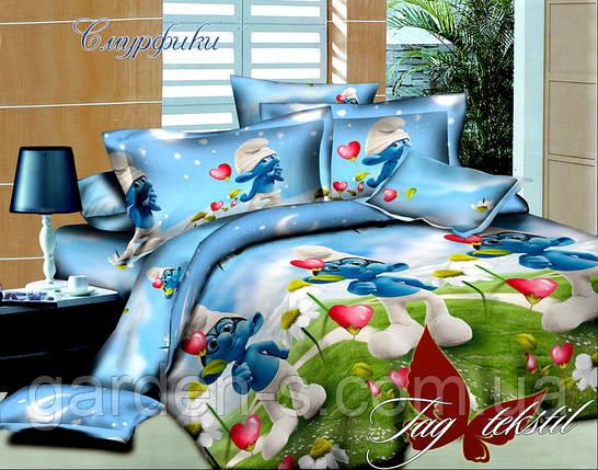 Комплект постельного белья Смурфики ТМ TAG 1,5 спальный комплект, фото 2