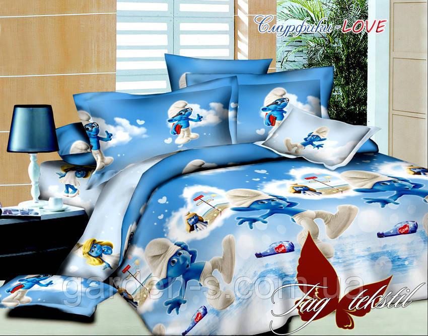 Комплект постельного белья Смурфики- Love ТМ TAG 1,5 спальный комплект