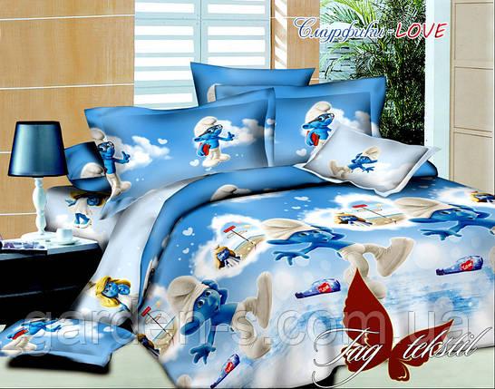 Комплект постельного белья Смурфики- Love ТМ TAG 1,5 спальный комплект, фото 2