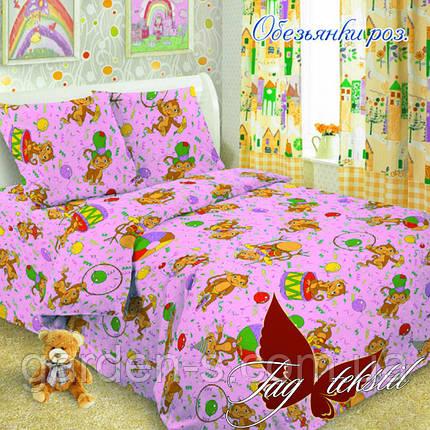 Комплект постельного белья Обезьянки розов. ТМ TAG 1,5 спальный комплект, фото 2