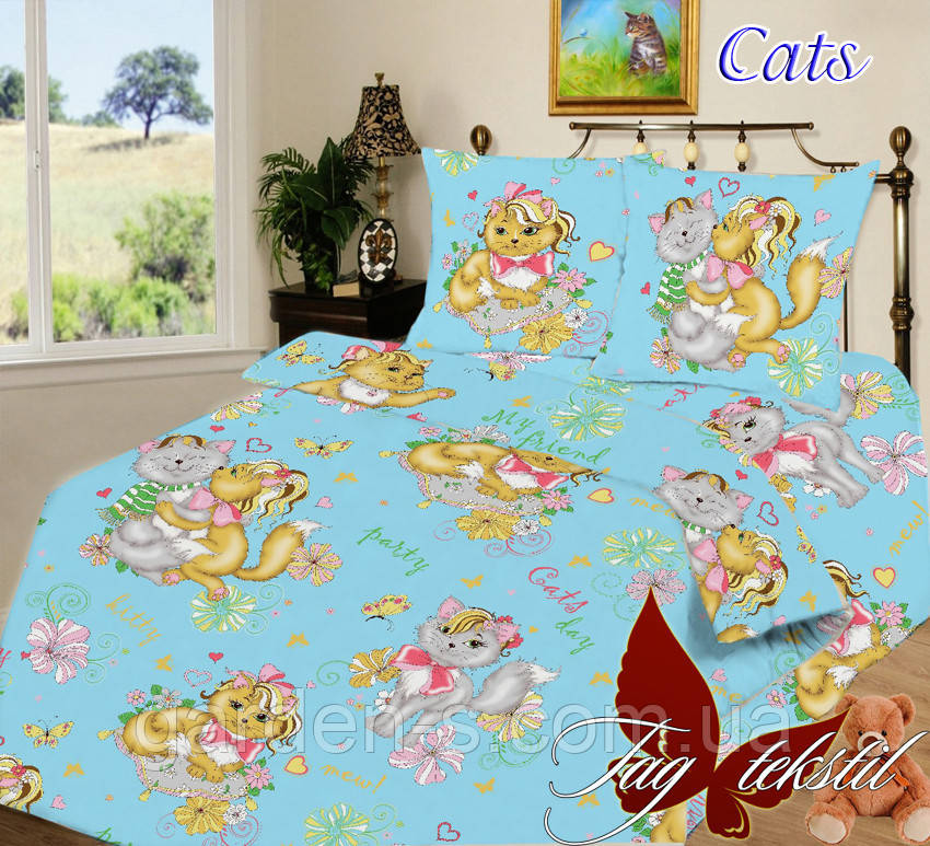Комплект постельного белья Cats вид 3 ТМ TAG 1,5 спальный комплект