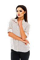 Рубашка женская на пуговицах в горошек - Светло розовый