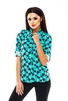 Рубашка женская с узором - Бирюзовый