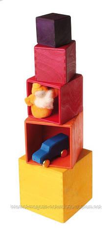 Пирамидка Grimms Кубы теплые тона, фото 2