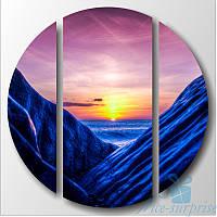 Круглая модульная картина Триптих Синие скалы