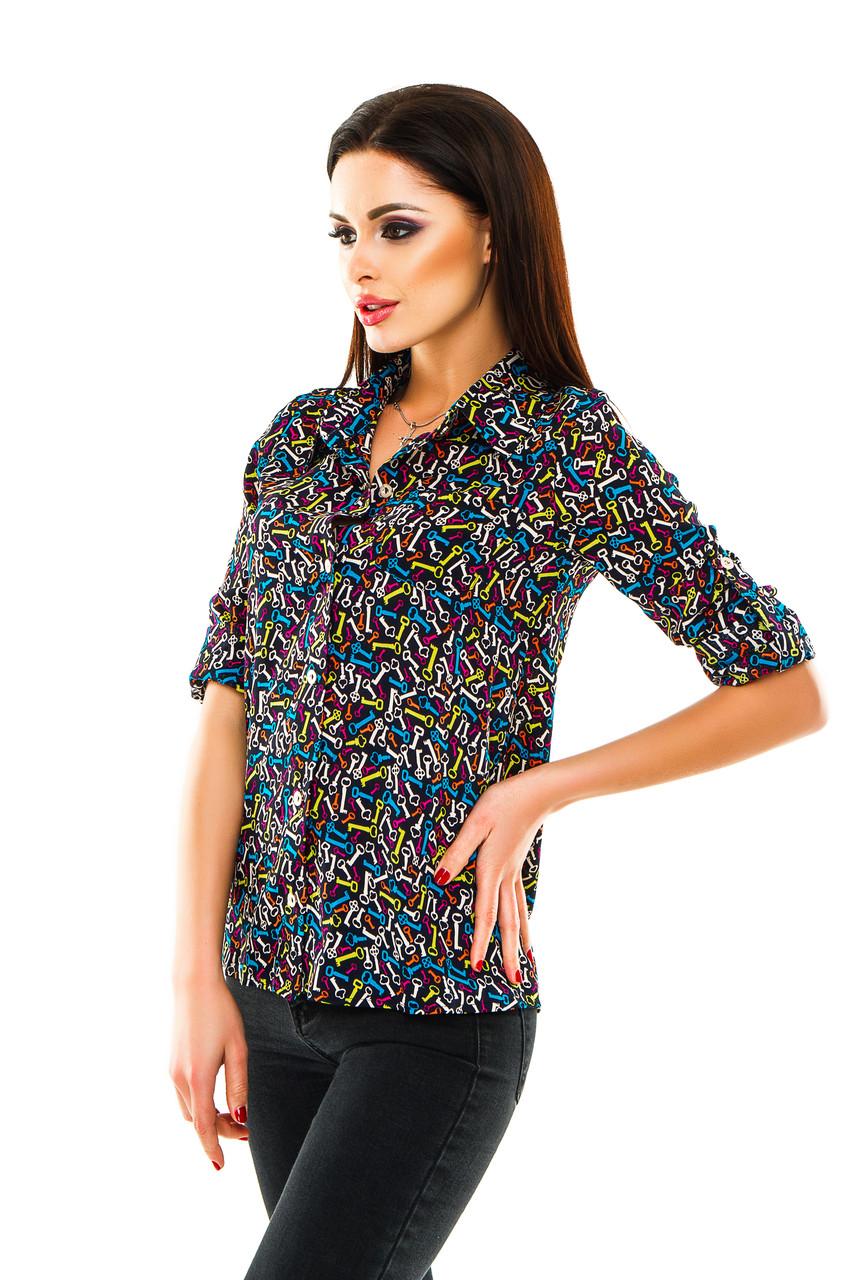 20113bae5fd Рубашка женская с принтом Цветные ключики - Темно синий - sez-on.com Нижнее