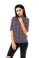 Рубашка женская с принтом Цветные листики - Темно синий