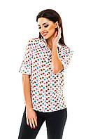 Рубашка женская с принтом Цветные листики - Белый