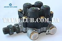 Клапан четырехконтурный защитный пневмосистемы тормозов KNORR-BREMSE,Индия /ASHOK Leyparts orig,Индия