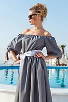 Летнее длинное платье в мелкую клетку с широким поясом