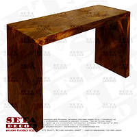 Коричневый стол оплетённый волокнами из абаки (банановое волокно, мани́льская пенька́) ламинированный