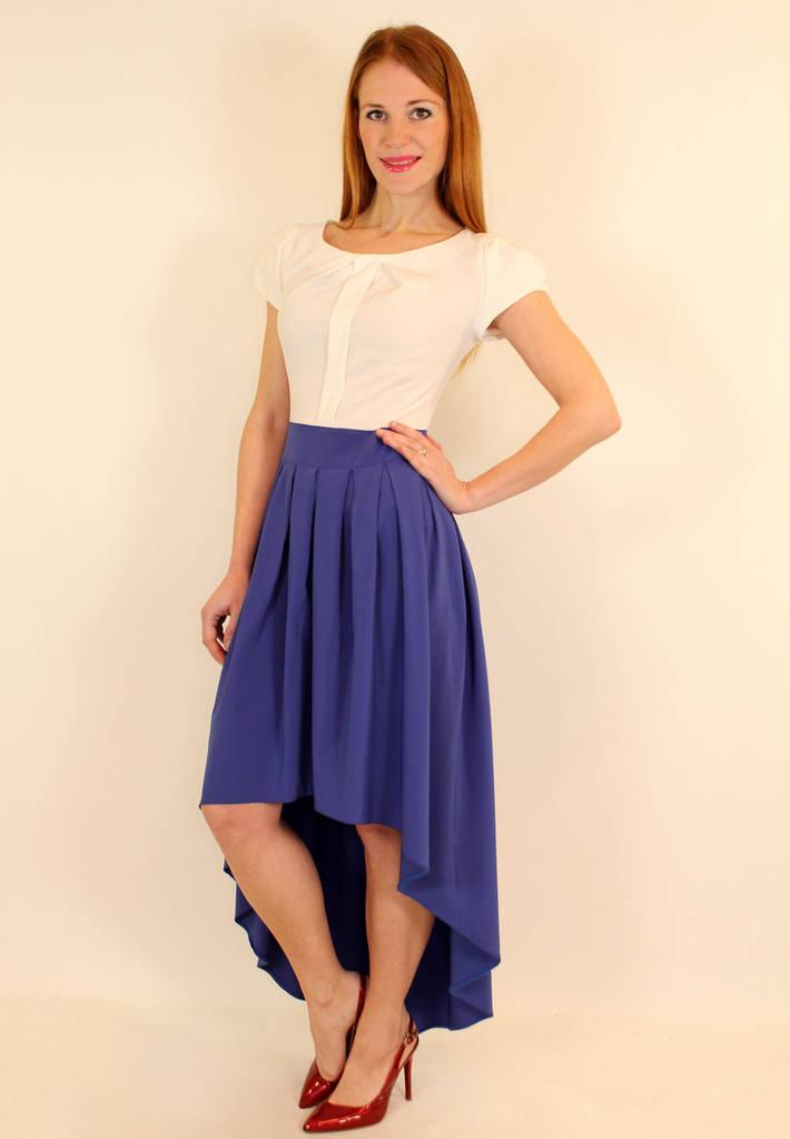 Нарядное платье с пышной юбкой асимметрия 42-48 ( электрик, темно-синий )