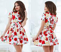 Элегантное женское платье  с цветочным принтом, расклешенная юбка