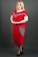 САРАФАН ДЖЕККІ (ЧЕРВОНИЙ), річний, нижче колін, трикотаж, віскоза, кажан, великого розміру 54-64, батал, фото 1