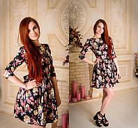Элегантное женское платье  с цветочным принтом, расклешенная юбка. Разные цвета