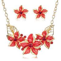 Комплект украшений Цветы красная эмаль код 981