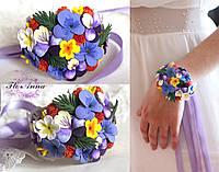 """""""Яркий аметист"""" авторский браслет с цветами ручной работы, фото 1"""