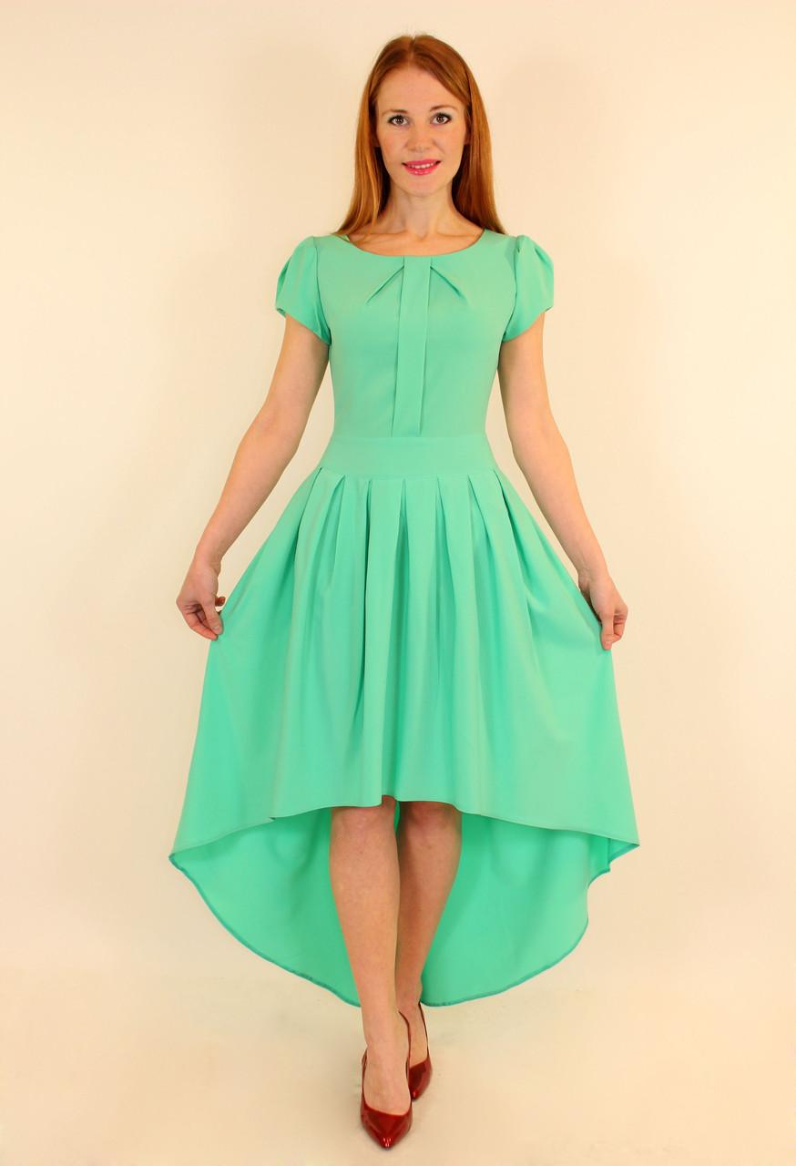 Длинное платье со шлейфом 42-48 р ( бирюза, коралл )